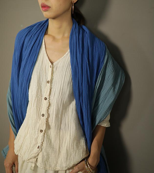 雙色棉長巾 1