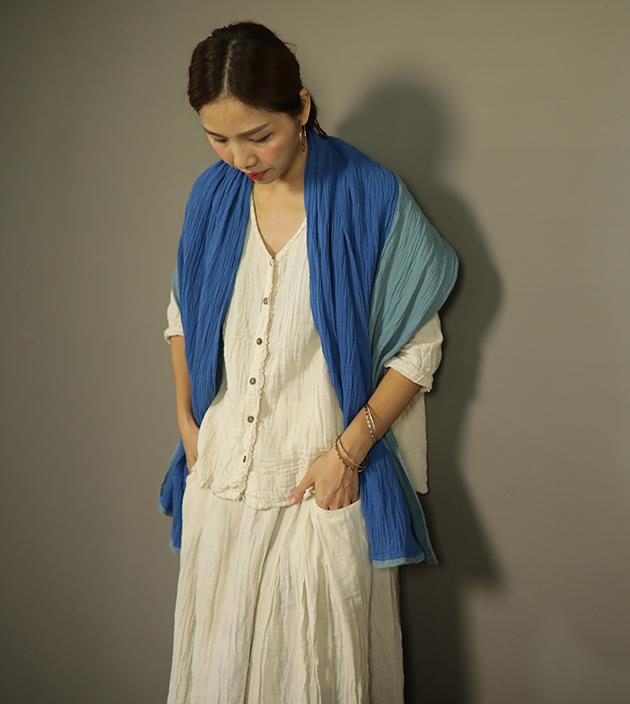 雙色棉長巾 6