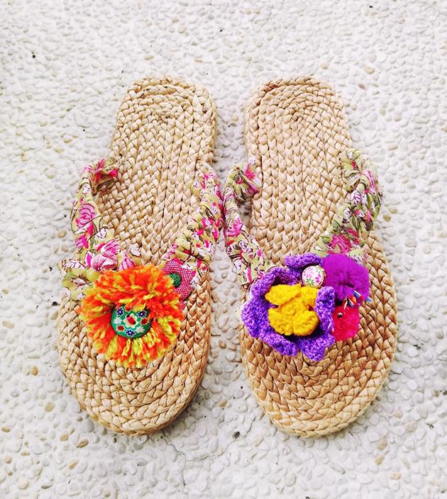 手編水草鞋.粉綠 1