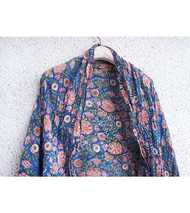 木印長巾.藍蓮蓬 1
