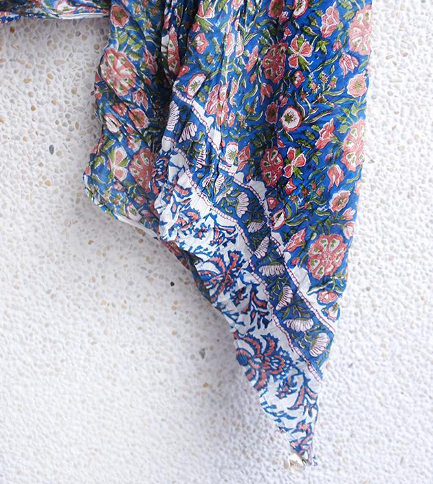 木印長巾.藍蓮蓬 2