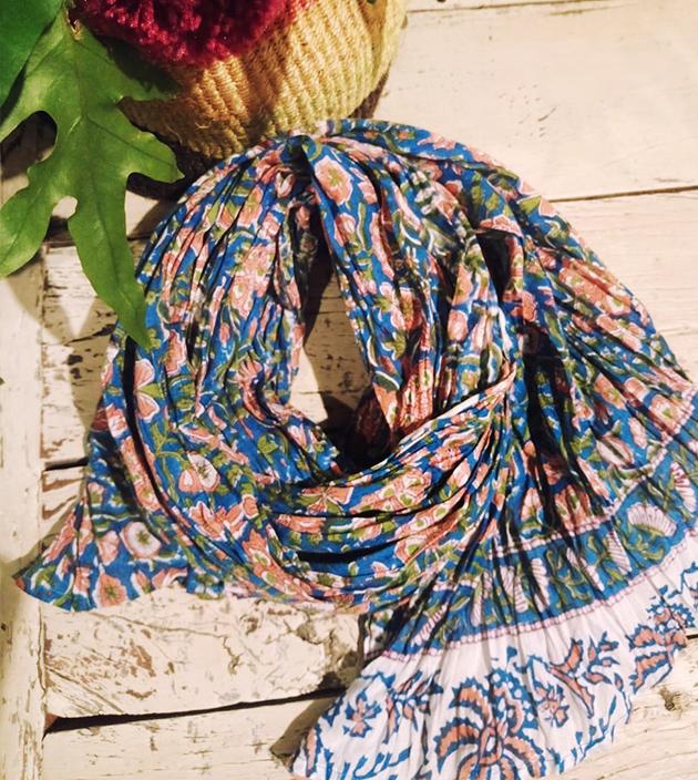 木印長巾.藍蓮蓬 3