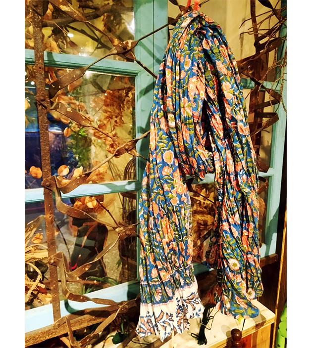 木印長巾.藍蓮蓬 4