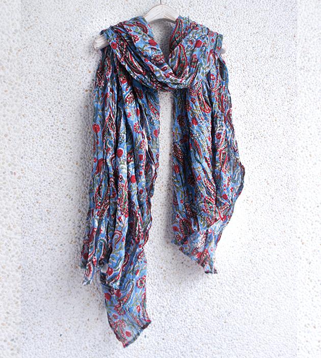木印長巾.藍草履 1
