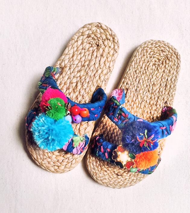 童鞋.手編水草ㄇ字.藍 1