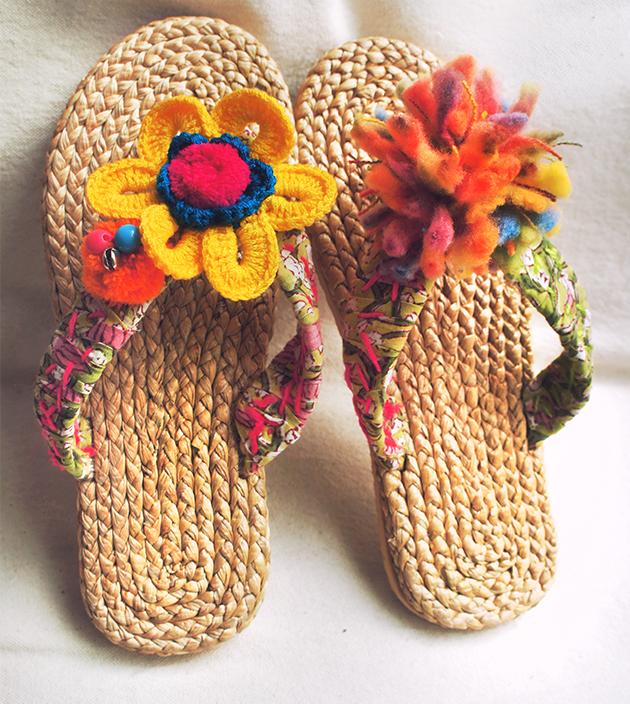 手編水草鞋.青綠 1