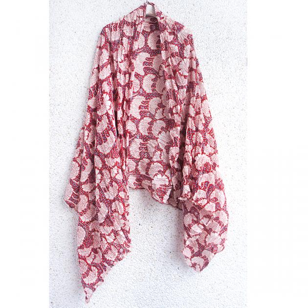木印長巾.紅銀杏 1