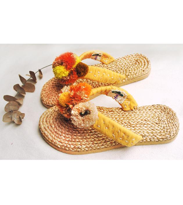 手編水草鞋.素黃 2
