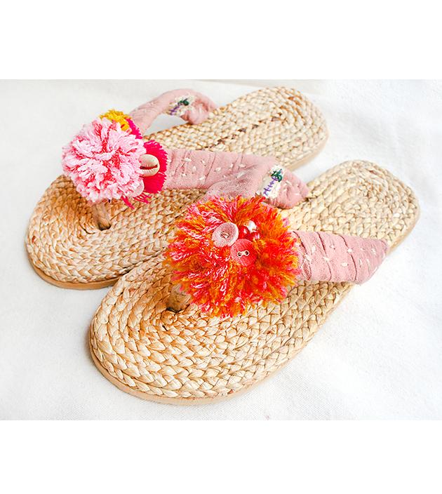 手編水草鞋.素粉 2