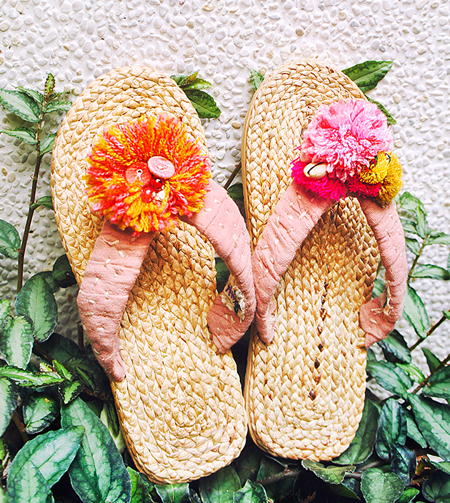 手編水草鞋.素粉 1
