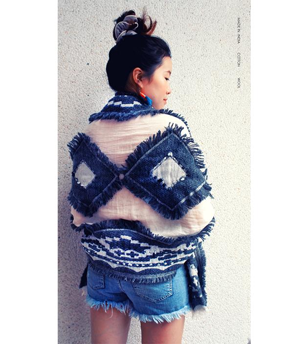 羊毛刺繡巾.灰羽 2