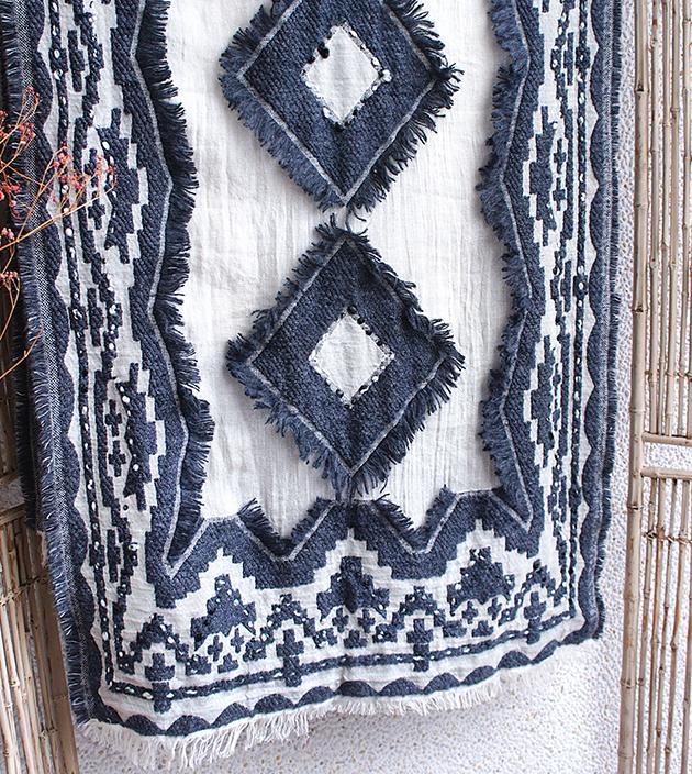 羊毛刺繡巾.灰羽 5
