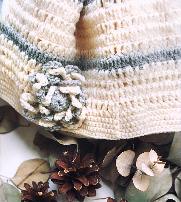 手鉤花朵帽 2